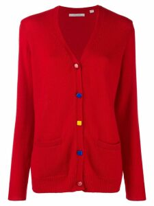 Chinti & Parker contrast elbow-patch cardigan - Red