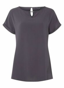 Womens **Tall Grey Bar Trim T-Shirt, Grey