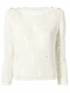 Balmain destroyed cropped sweater - NEUTRALS