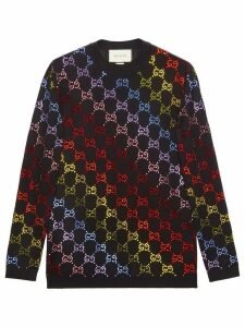 Gucci Wool sweater with GG rhinestone motif - Black