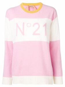 N°21 jacquard logo knit sweater - PINK