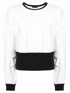 Josie Natori contrast long-sleeve sweater - White