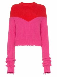 Unravel Project distressed hem extended sleeve jumper - PINK