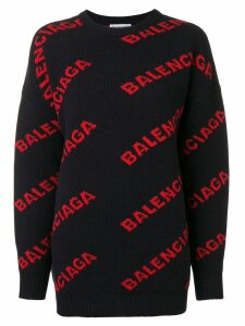 Balenciaga all-over logo jumper - Blue