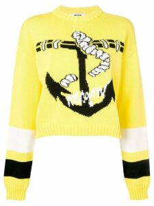 MSGM anchor print sweater - Yellow