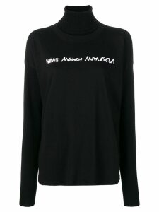 Mm6 Maison Margiela front logo knitted sweatshirt - Black
