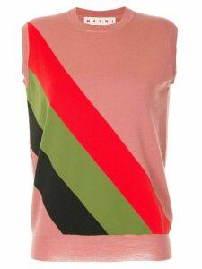 Marni diagonal striped tank top - Red