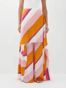 Loup Charmant - Ruffle Trimmed Cotton Top - Womens - Navy