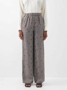 Gül Hürgel - Floral And Stripe-print Linen Midi Dress - Womens - White Print