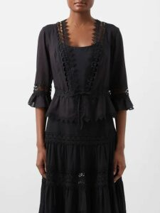 Erdem - Lucien Floral Print Silk Satin Blouse - Womens - White Multi