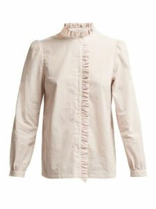 A.p.c. - Ruffle-detailed Striped Cotton Blouse - Womens - Pink Multi