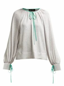 Anna October - Contrast Piped Silk And Lamé Blouse - Womens - Silver