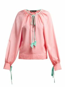 Anna October - Contrast-trim Silk Blouse - Womens - Pink Multi