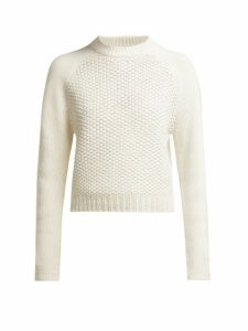 Chloé - Contrast Knit Wool And Cashmere Blend Sweater - Womens - White