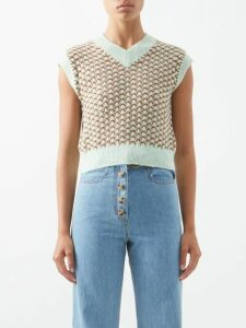 Prada - Seahorse Intarsia Wool Blend Sweater - Womens - Orange Multi