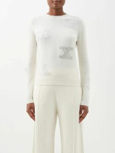 Paco Rabanne - Logo Embroidered Cotton Hoody - Womens - Dark Blue