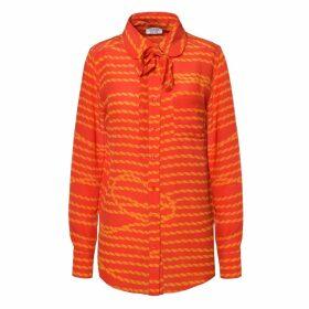 SOMERVILLE. - Rudy Silk Shirt Red & Gold Stripe