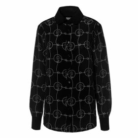 SOMERVILLE. - Rodeo Blouse In Black with White Horse Print