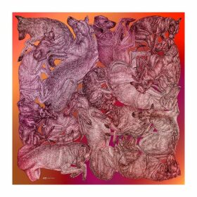 ARLETTE ESS - 'Sleeping Dogs' Large Silk Cotton Scarf In Red Hues