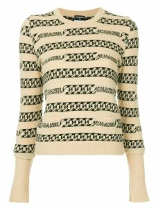 Chanel Pre-Owned chain-intarsia jumper - NEUTRALS