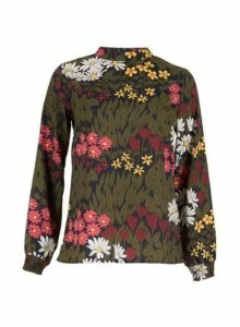 Womens *Tenki Green Floral Print Top, Green