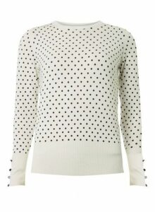 Womens Ivory Spotted Button Cuff Jumper - White, White