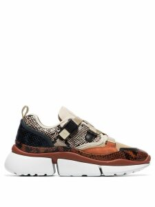 Chloé multicoloured sonnie snake print canvas and suede leather