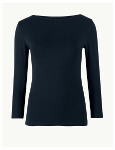 M&S Collection Cotton Rich Slash Neck Fitted T-Shirt