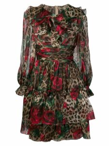 Dolce & Gabbana multi-print ruffled dress - NEUTRALS