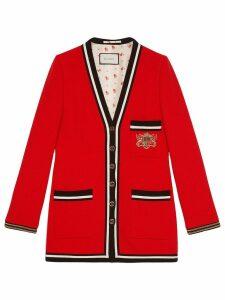 Gucci Wool sablé jacket with crest appliqué - Red