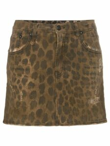 R13 high rise leopard print cotton mini skirt - Neutrals