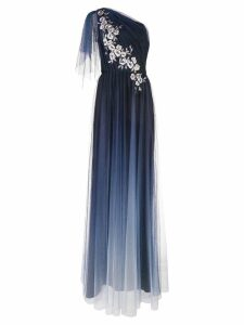 Marchesa Notte long one-shoulder dress - Blue