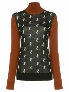 Chloé turtleneck horse intarsia wool blend jumper - Black