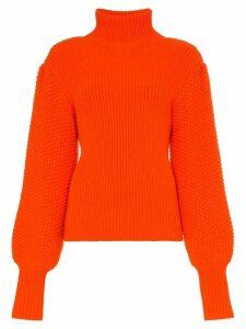 Chloé turtleneck ribbed wool cashmere blend jumper - Red