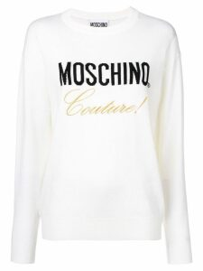 Moschino logo knitted sweatshirt - White