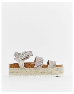 ASOS DESIGN Jaguar espadrille flatforms-Multi