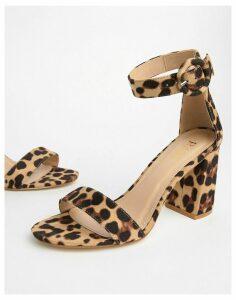 RAID Genna leopard print block heeled sandals-Multi