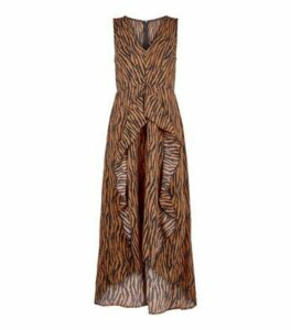 AX Paris Brown Tiger Print Dip Hem Midi Dress New Look