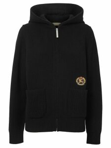 Burberry embroidered crest hoodie - Black