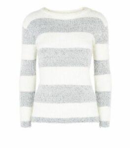 Blue Vanilla Grey Stripe Fluffy Jumper New Look