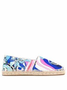 Emilio Pucci Coral and Sapphire Merida Print Espadrilles - Blue