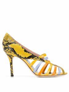 Emilio Pucci Yellow Elaphe Strappy Sandals