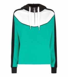 Green Curve Colour Block Half Zip Hoodie New Look