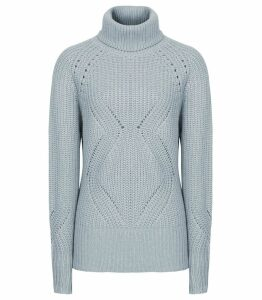 Reiss Claudia - Chunky Rollneck Jumper in Blue Melange, Womens, Size XXL