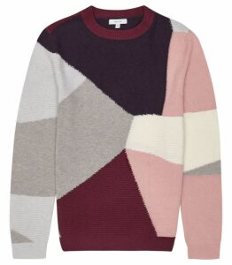Reiss Allistar - Colour Block Knit Jumper in Pink, Mens, Size XXL
