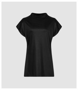 Reiss Pax - High Neck Top in Black, Womens, Size XL