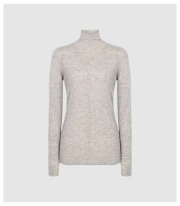 Reiss Amberly - Wool Cashmere Blend Rollneck Top in Grey Marl, Womens, Size XXL