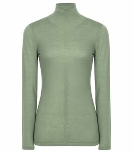 Reiss Amberly - Wool Cashmere Blend Rollneck Top in Sage Green, Womens, Size XXL