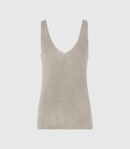 Reiss Agata - Metallic Knitted Top in Silver, Womens, Size XXL