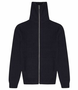 Reiss Harding - Textured Zip Through Jumper in Blue/black, Mens, Size XXL